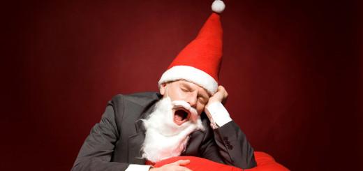 Santa yawning